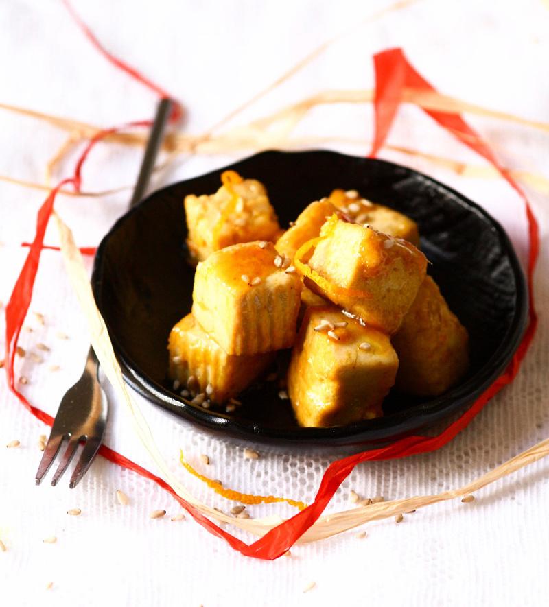 Tofu laqué à l'orange et au gingembre