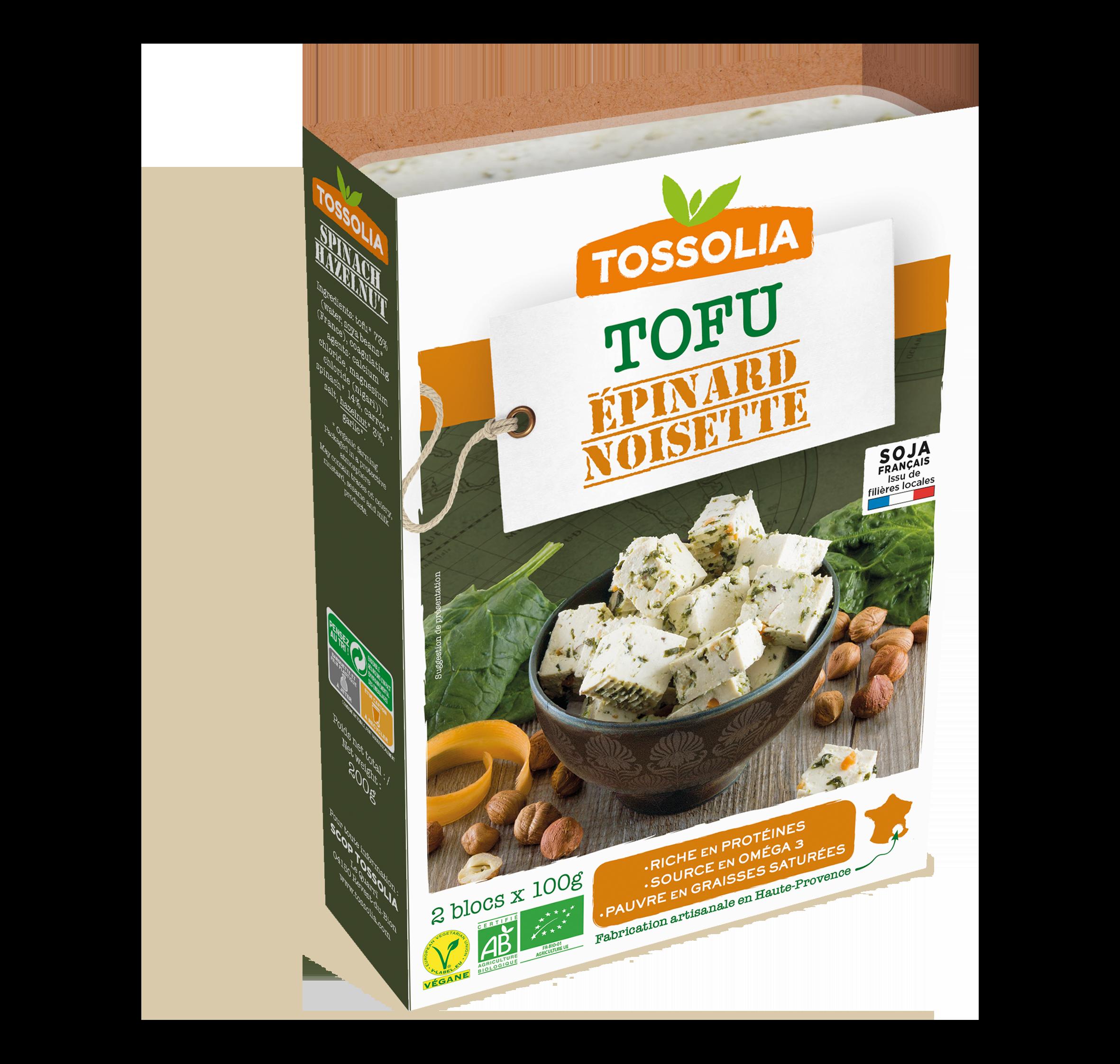 Tofu épinard noisette