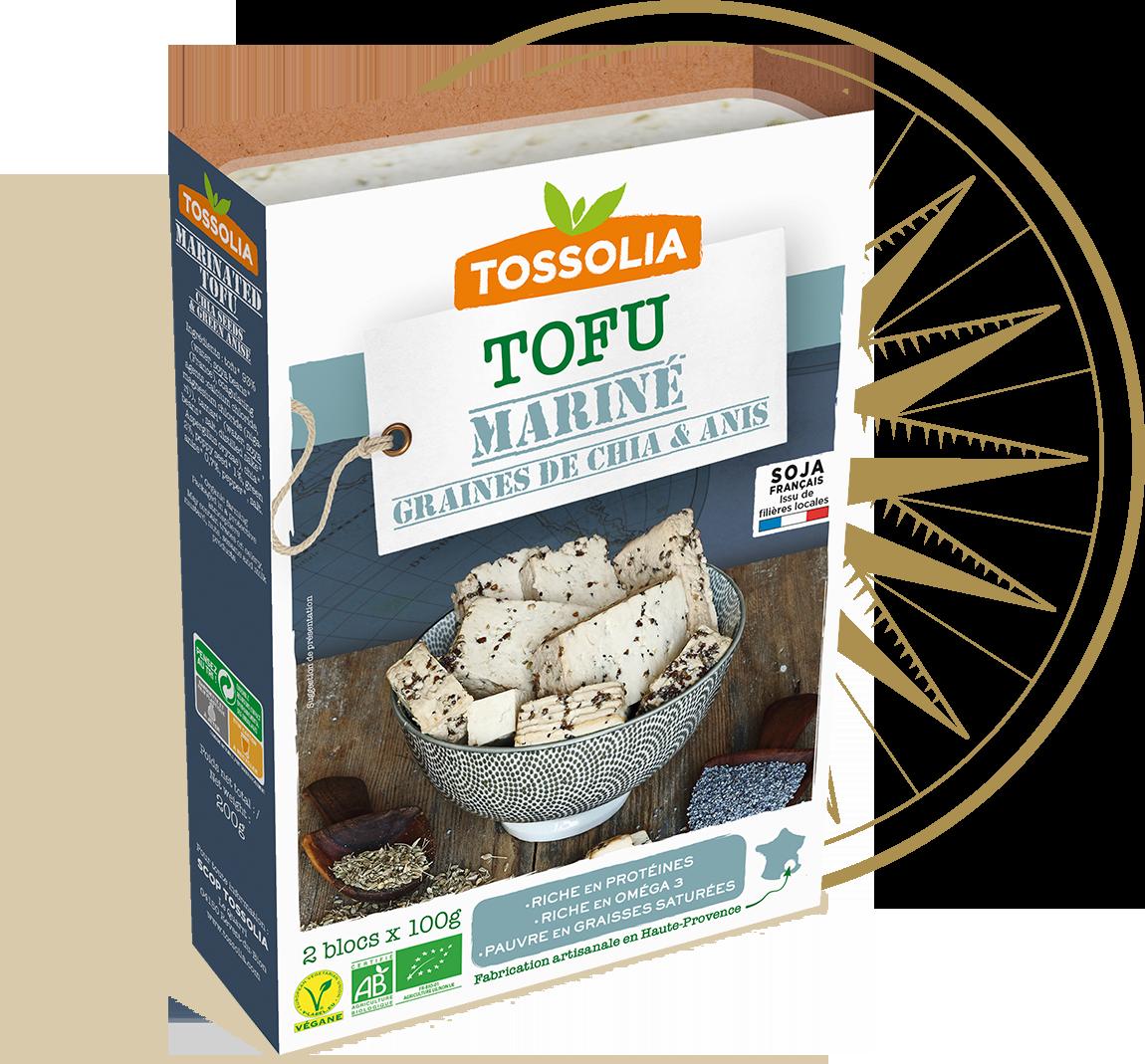 Tofu mariné graines de chia & anis