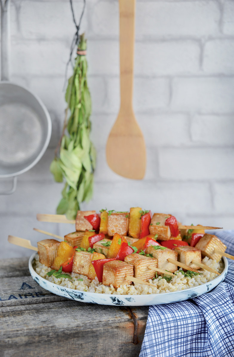 Brochettes de tofu sucré salé