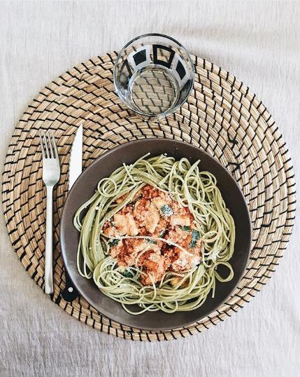 Spaghettis au quinoa ail et persil et son haché végétal