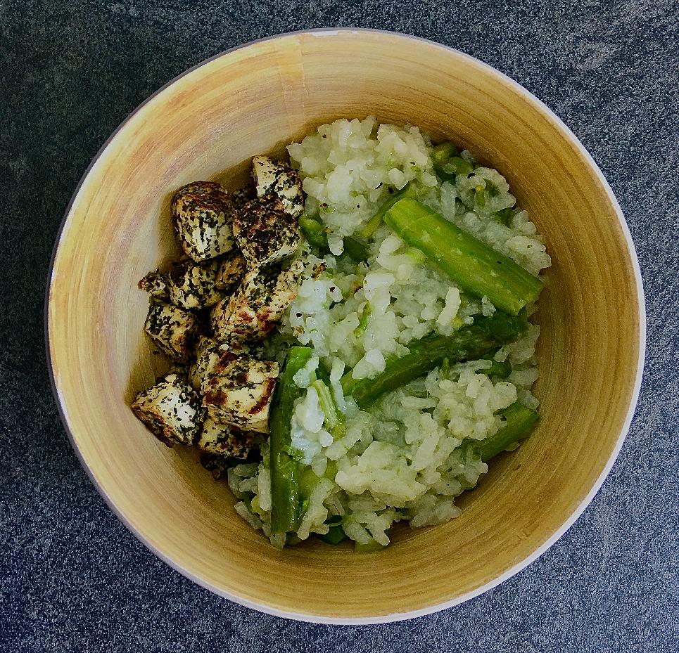 Risotto d'asperges et tofu ail des ours