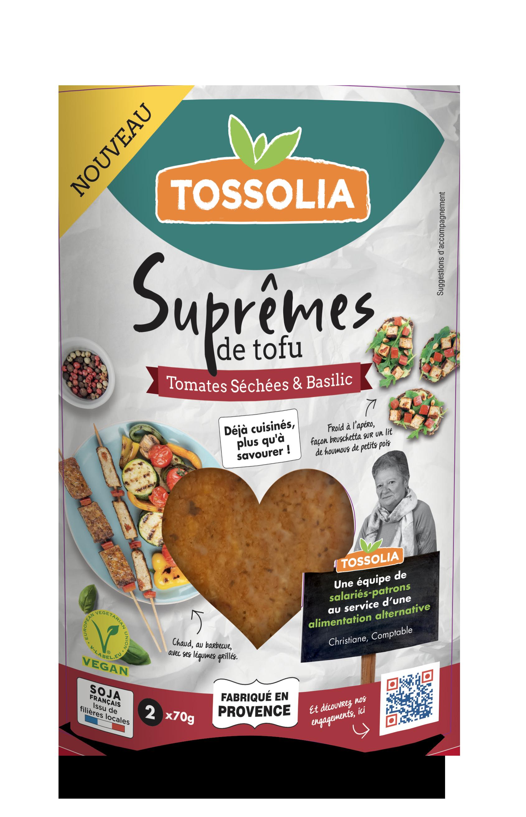Suprêmes de tofu tomates séchées & basilic