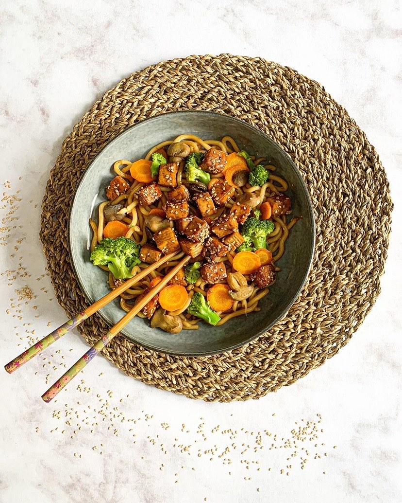 Wok de tofu et légumes
