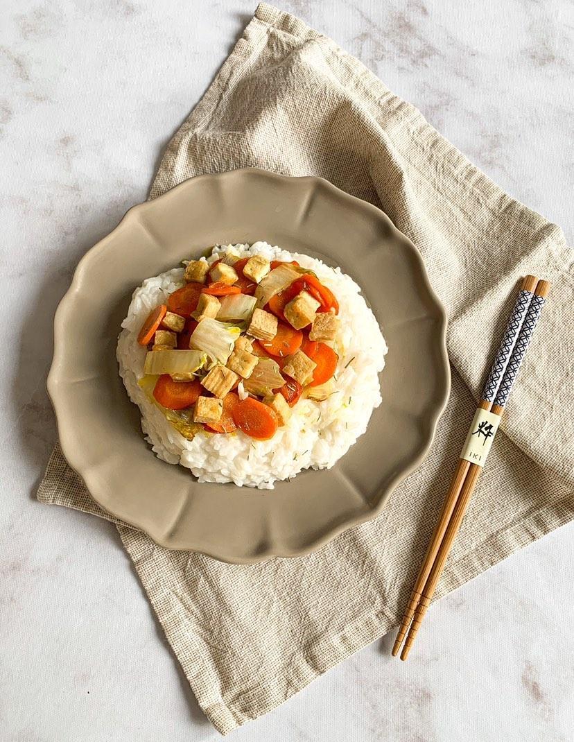 Riz coco tofu et légumes